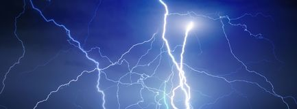 Thunder, lightnings and rain royalty free stock photography