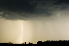 Thunder lightnings and storm on the dark sky Royalty Free Stock Photo