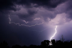 Thunder lightnings and storm on the dark sky Royalty Free Stock Photography