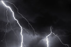 Thunder, lightnings and storm in summer night. Heavy clouds bringing thunder, lightnings and storm Royalty Free Stock Photography