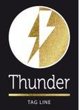 Thunder logo in golden. On black stock illustration