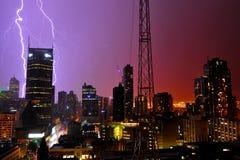 Thunder in modern city Stock Images