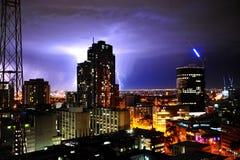 Thunder in modern city Royalty Free Stock Photo
