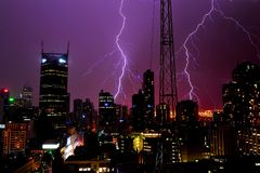 Thunder in modern city Royalty Free Stock Photography