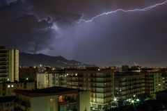 Thunder in Palermo. Thunder on the sky of the city Stock Photos