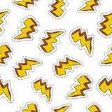 Thunder ray retro patch icon seamless pattern Royalty Free Stock Images