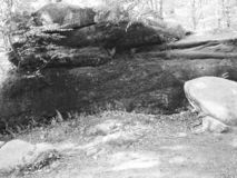 The Thunder Rocks at Allegany State Park Black and White royalty free stock photo