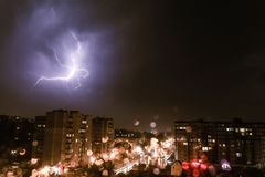 Thunder in the sky of  city. Thunder in the sky of small city Stock Image