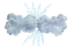 Thunder storm. Hand drawing water colour Royalty Free Stock Images
