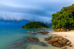 Thunder storm approaching the beach Stock Photo