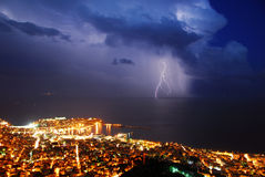 Thunder storm city. The city of Kavala in Greece during an awesome thunder storm Royalty Free Stock Image