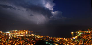 Thunder storm city panorama Royalty Free Stock Images