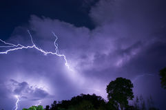 Thunder storm. Clouds and thunder lightnings and storm Stock Photo