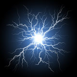 Thunder storm flash light lightning on black background Royalty Free Stock Image