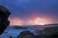 Thunder Storm in the horizon. Thunder Storm looming in the horizon on the beach in Australia Stock Image