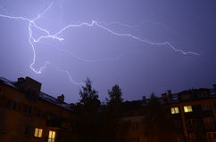 Thunder storm lighting Stock Image