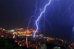 Thunder storm night. The city of Kavala, Greece during an awesome thunder storm night Stock Photography
