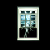 Thunder Storm through window. Bolts of lightning outside a window frame Royalty Free Stock Photos