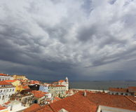 Thunder-storm. Over Lisbon in the summer, Portugal Stock Photography