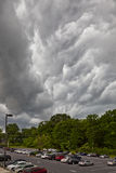 Thunder storm over parking lot Royalty Free Stock Images