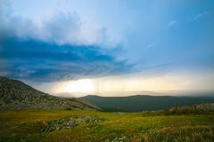 Thunder-storm and rain in mountains Stock Image