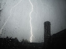 Thunder storm in summer. Rain and thunder storm in august. looking outside the window Stock Photo