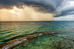 The thunder storms in Lapu Lapu city. The thunder storms on the sea of the Lapu-Lapu City, Philippines Stock Image