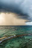 The thunder storms in Lapu Lapu city. The thunder storms on the sea of the Lapu-Lapu City, Philippines Royalty Free Stock Images
