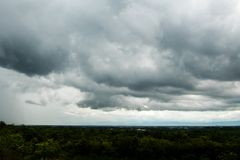 thunder strom sky Rain clouds. Stock Images