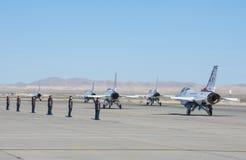 Thunderbird. LAS VEGAS - NOVEMBER 11: Thunderbird F-16 Aircrafts preparing to an air show on November 11, 2012 in Las Vegas,USA. The Thunderbirds are the air royalty free stock photos