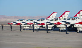 Thunderbird. LAS VEGAS - NOVEMBER 11: Thunderbird F-16 Aircrafts preparing to an air show on November 11, 2012 in Las Vegas,USA. The Thunderbirds are the air royalty free stock images
