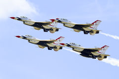 Thunderbird fight jets with burners on. Thunderbird jets in danger close formation royalty free stock photo