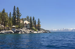 Thunderbird Lodge, Lake Tahoe. This is an image of the Thunderbird lodge from the lake. The lodge was previously owned by George Whittell Jr., whos father was Stock Photo