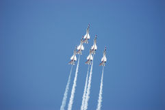 Thunderbirds. Six USAF thunderbirds in a vertical climb Royalty Free Stock Photography