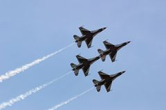 Thunderbirds in Diamond Formation. Climbing- Showing Undersides Royalty Free Stock Photo