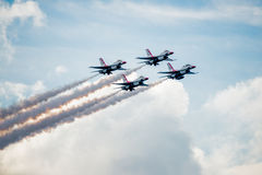 Thunderbirds Diamond Formation Above the Clouds Royalty Free Stock Photos