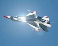 Thunderbirds inversés de l'U.S. Air Force Photographie stock