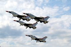 The Thunderbirds - Nellis Air Force Base. The Thunderbirds flying in formation Stock Image
