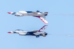 Thunderbirds perform high skill manuever Royalty Free Stock Image