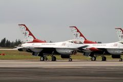 Thunderbirds F-16 Fighting Falcons at Florida Air Force base royalty free stock images