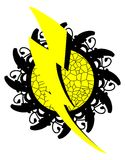 Thunderbolt on abstract decoration isolated. Image with a thunderbolt on an artistic backgroun in black and yellow. An idea for logos or to decorating t-shirt or Stock Photos