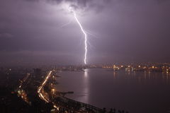 Thunderbolt on city Royalty Free Stock Images