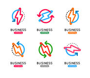 Thunderbolt  icon set. Thunderbolt business logo. Thunderb Royalty Free Stock Photography