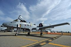 Planes of Fame Airshow, Chino Airport, May 5-6, 2018. A-10 Thunderbolt II, Warthog, Planes of Fame Airshow, Chino Airport, Blue Sky, California, USA stock photos