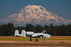 A-10 Thunderbolt jet aircraft and Mt. Rainier Stock Image