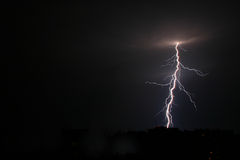 Thunderbolt. Lightning in the night royalty free stock photo