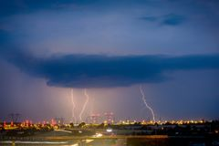 Lightnings on lublin during one of the storms in 2017. Thunderbolt - in meteorology a very strong electrostatic discharge in the atmosphere arising naturally Royalty Free Stock Photography