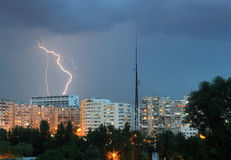 Thunderbolt over the city. A snapshot with a thunderbolt striking the city Royalty Free Stock Photo