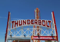 The Thunderbolt roller coaster at Coney Island in Brooklyn royalty free stock photo