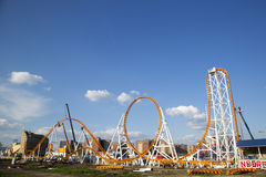 The Thunderbolt roller coaster under construction at the Coney Island in Brooklyn stock image